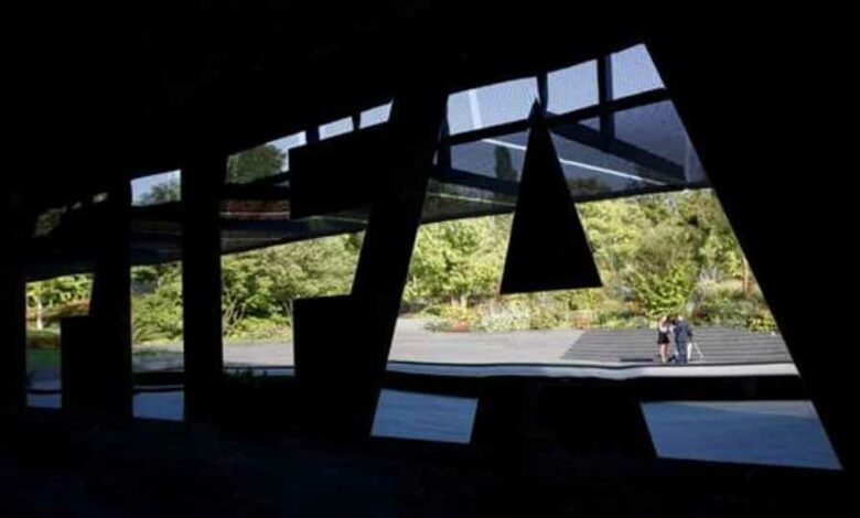 General view of the FIFA logo