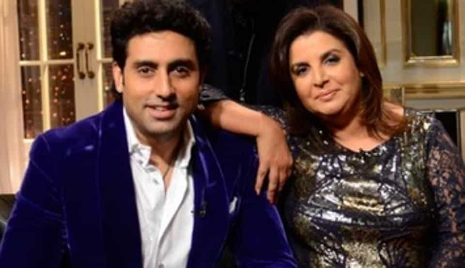 Abhishek Bachchan and Farah Khan on the sets of Koffee With Karan in 2013.
