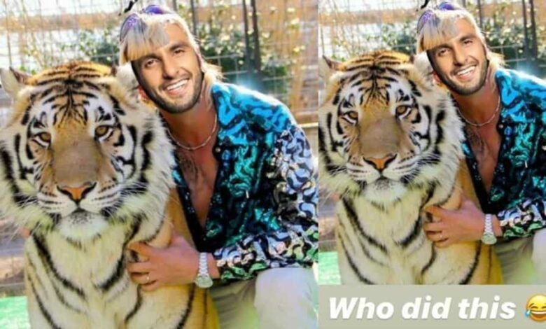Ranveer Singh has shared a photoshopped image of himself as Joe Exotic from Netlix series Tiger King.