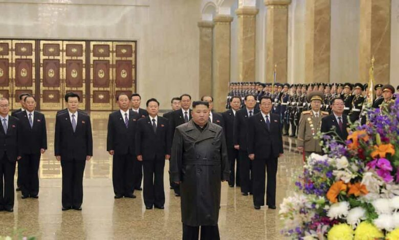 Pyongyang: In this photo provided by the North Korean government, North Korean leader Kim Jong Un, center, visits the Kumsusan Palace of the Sun, where the bodies of the late leaders Kim Il Sung and Kim Jong Il are enshrined, to commemorate the 78th birthday of his late father Kim Jong Il in Pyongyang.