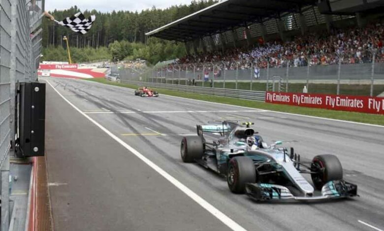 Mercedes driver Valtteri Bottas of Finland crosses the finish line to win the Austrian Formula One Grand Prix at the Red Bull Ring racetrack southern Austria, Sunday, July 9, 2017.