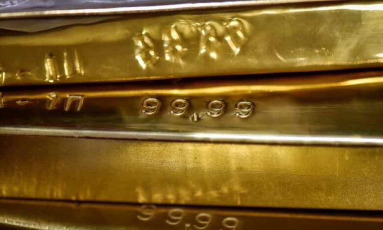 Gold bars are seen at the Kazakhstan