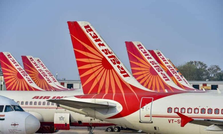 Air India planes stand parked at IGI Airport in New Delhi.