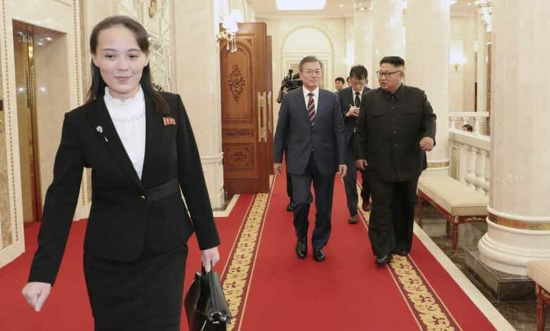 Kim Yo Jong, left, sister of North Korean Leader, walks ahead of South Korean President Moon Jae-in and North Koran leader Kim Jong Un, right, arrive at the headquarters of the Central Committee of the Workers