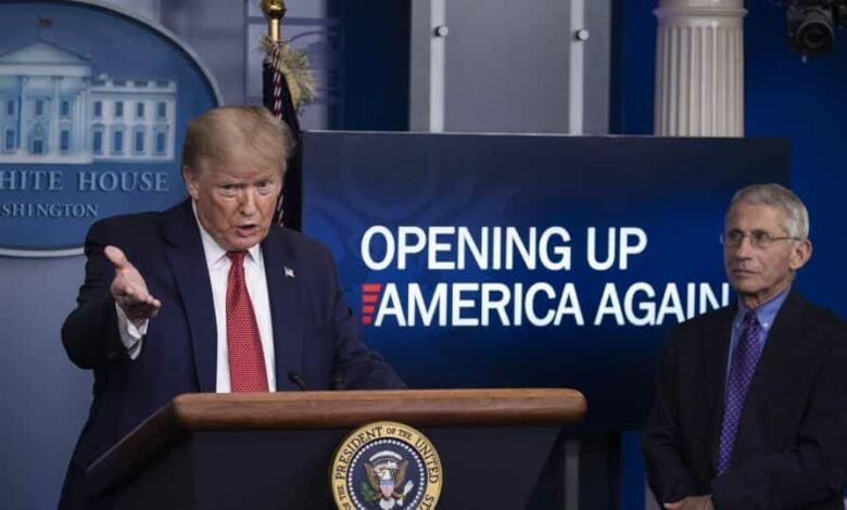 President Donald Trump speaks about the coronavirus, accompanied by Dr. Anthony Fauci, director of the National Institute of Allergy and Infectious Diseases, in the James Brady Press Briefing Room of the White House.