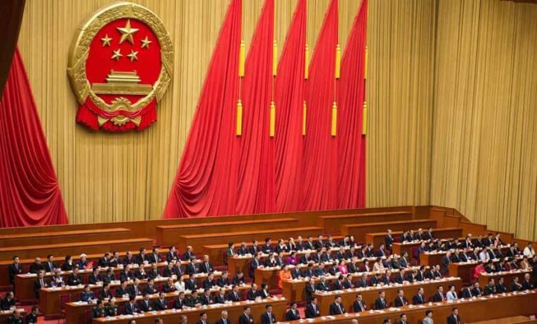 This file photo taken on March 17, 2018 shows a general view of the fifth plenary session of the first session of the 13th National People