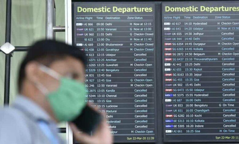 Airlines passangers stranded as flights have been cancelled at Chhatrapati Shivaji International Airport(CSIA),Andheri following Coronavirus pandemic in Mumbai, India, on Sunday, March 22, 2020.