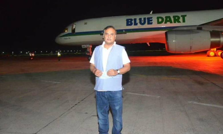 Assam Health Minister Himanta Biswa Sarma at the Guwahati airport Wednesday evening to receive the consignment of PPEs from China.