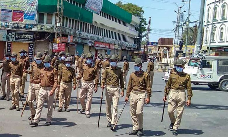 Police officials patrol in Bhilwara, March 21, 2020