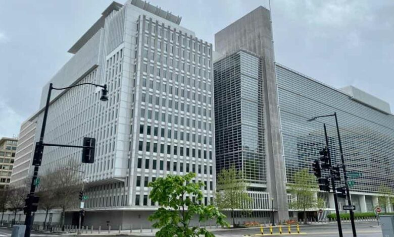 The World Bank Group building is viewed on an empty street in Washington, DC on April 13, 2020, during the virtual IMF, World Bank Spring 2020 meetings. -