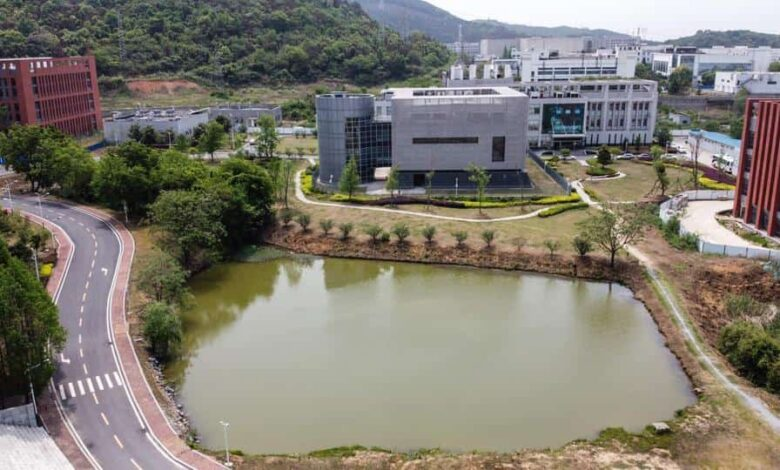 An aerial view shows the P4 laboratory (C) at the Wuhan Institute of Virology in Wuhan in China