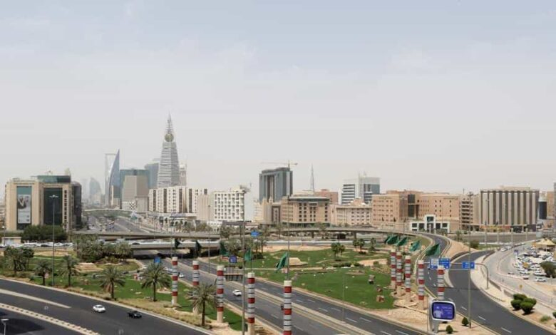 A general view shows almost empty streets, during the 24 hours lockdown to counter the coronavirus disease (COVID-19) outbreak in Riyadh, Saudi Arabia.