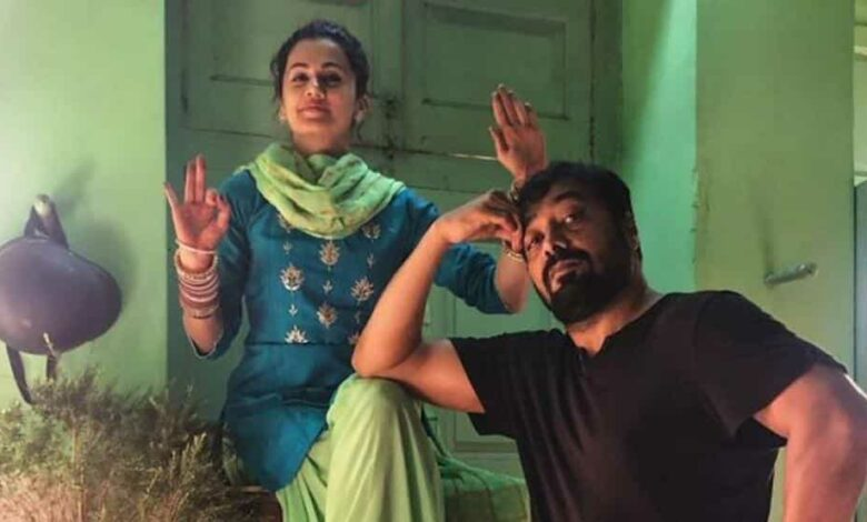 Taapsee Pannu and Anurag Kashyap on sets of Manmarziyaan.