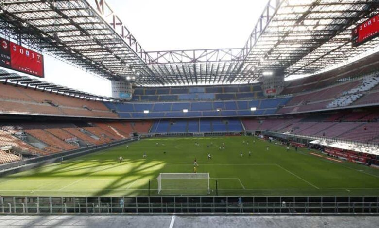 FILE - In this Sunday, March 8, 2020 file photo, a view of the empty San Siro stadium during the Serie A soccer match between AC Milan and Genoa, in Milan, Italy.