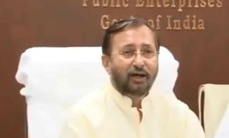 Union minister Javdekar during the Covid-19 meet with auto-industry heads.
