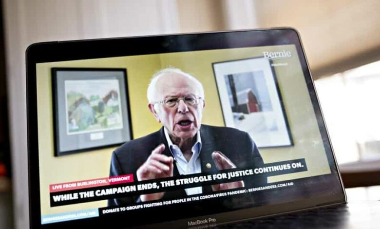 Senator Bernie Sanders, an Independent from Vermont and former 2020 presidential candidate, speaks during a livestream event on a laptop computer in this arranged photograph in Arlington, Virginia, US, on Wednesday, April 8, 2020. Sanders ended his presidential run today after an unbroken string of losses in recent weeks that cemented Joe Biden