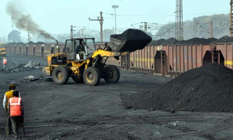 Coal being loaded in train wagons at Barora area near Baghmara in Dhanbad.
