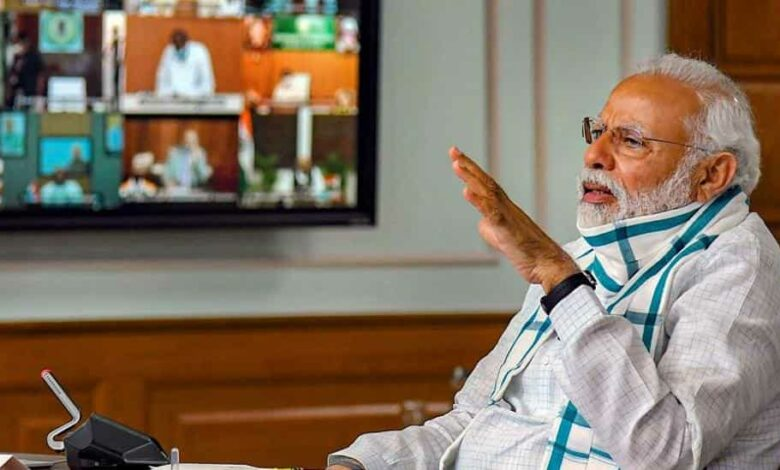 Prime Minister Narendra Modi interacts with the Chief Ministers of various States/UTs via video conferencing to discuss the situation arising due to the novel coronavirus pandemic, in New Delhi, Monday, April 27, 2020.