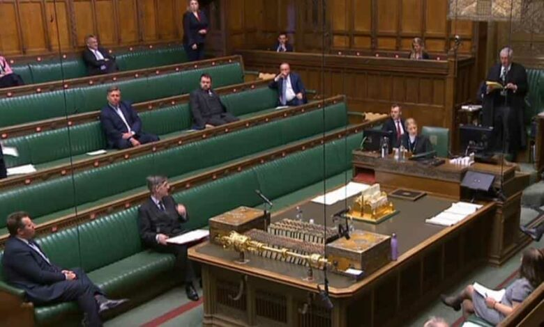A video grab from footage broadcast by the UK Parliament