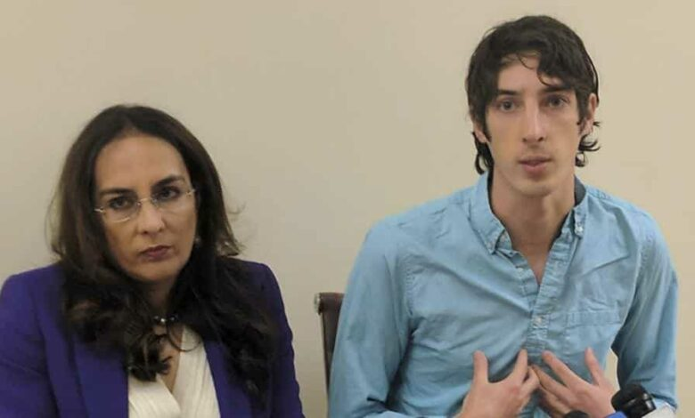 James Damore, right, a former Google engineer fired in 2017 after writing a memo about the biological differences between men and women, speaks at a news conference with his attorney, Harmeet Dhillon.Damore discussed his lawsuit alleging that Google discriminates against workers with conservative opinions.