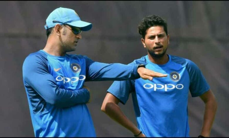 File image of MS Dhoni and Kuldeep Yadav.