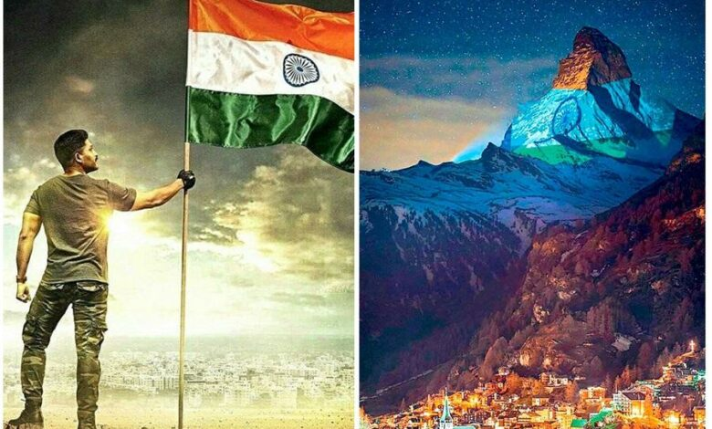 Allu Arjun and the Indian flag in the Swiss Alps