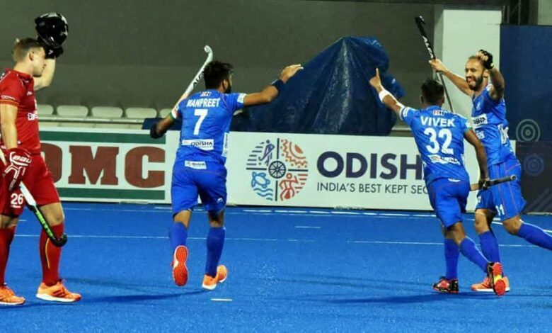 Indian hockey players celebrate during their match against Belgium in the FIH Pro League at the Kalinga Hockey Stadium.