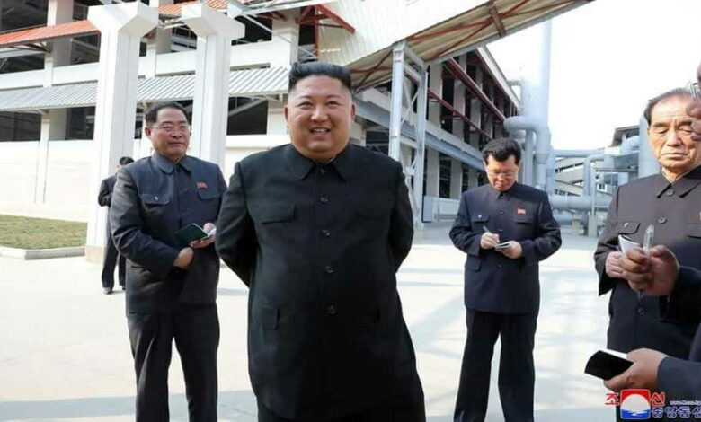 North Korea's official Korean Central News Agency (KCNA) on May 2, 2020 released photos of the country's leader Kim Jong Un (2nd L) , his first public appearance in three weeks during which time there was intense speculation about his health.