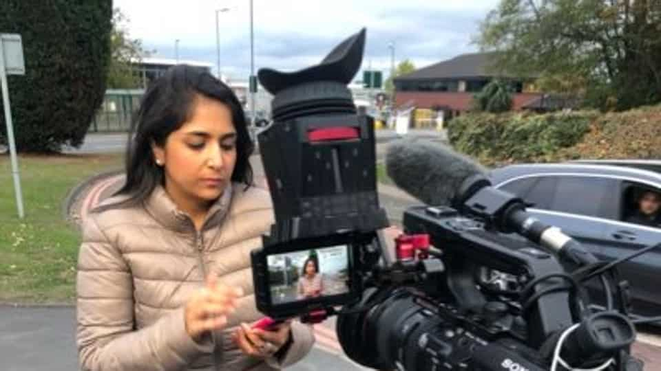 BBC's Sima Kotecha, who was preparing for the broadcast from the Leicester city centre, called it off after the abuse.