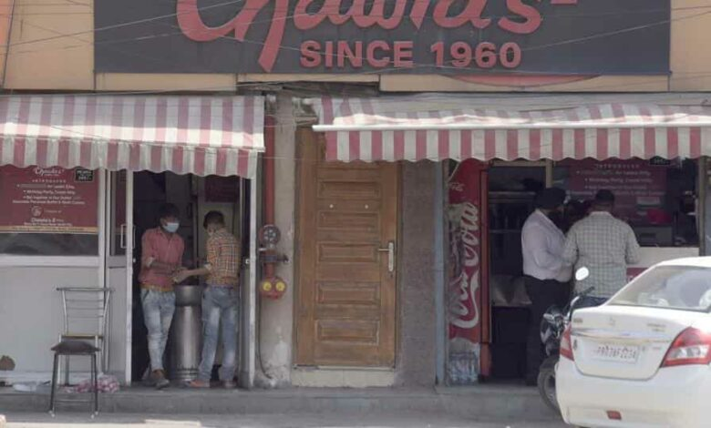 A view of open restaurant at Aarti chowk, they are only allow for home delivery in Ludhiana on Saturday, May 09, 2020.
