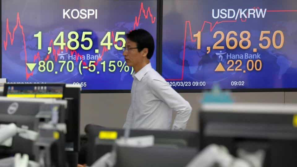 A currency dealer walks past in front of electronic boards showing the Korea Composite Stock Price Index (KOSPI) and the exchange rate between the US dollar and South Korean won, in Seoul, South Korea, March 23, 2020.