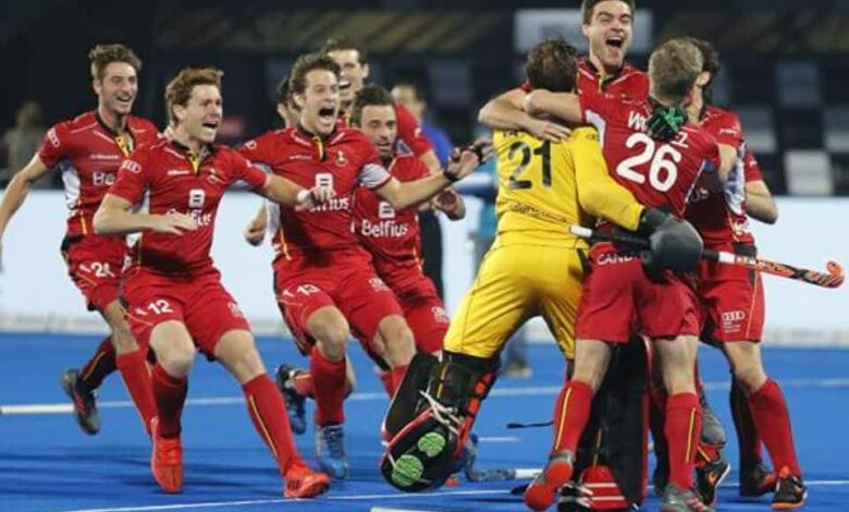 Belgium players celebrate their win over Netherlands in the Men
