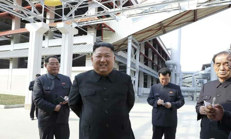 In this May 1 photo, North Korean leader Kim Jong Un visits a fertilizer factory in Sunchon, South Pyongan province.