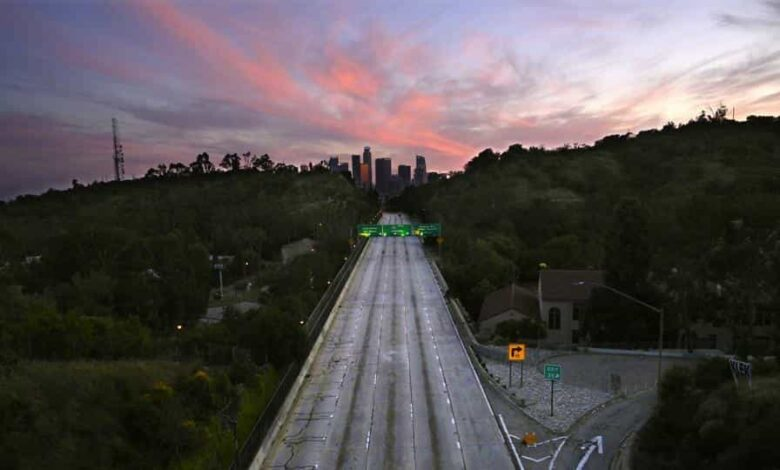 Empty lanes of the 110 Arroyo Seco Parkway that leads to downtown Los Angeles is seen during the coronavirus outbreak in Los Angeles.