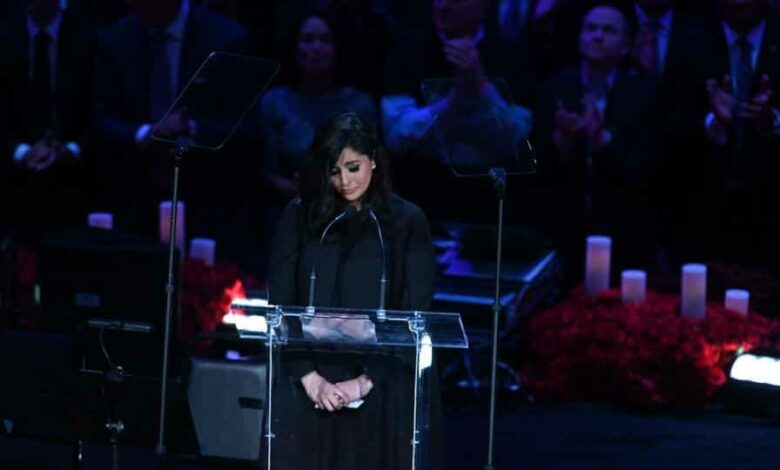 Feb 24, 2020; Los Angeles, California, USA; Vanessa Bryant takes a moment before speaking during a standing ovation at the memorial to celebrate the life of Kobe Bryant and daughter Gianna Bryant at Staples Center. Mandatory Credit: Robert Hanashiro-USA TODAY Sports