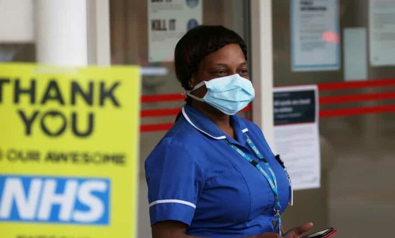An NHS worker at the Chelsea and Westminster Hospital as part of a campaign in support of the NHS, following the outbreak of the coronavirus disease Covid-19, in London on May 14.
