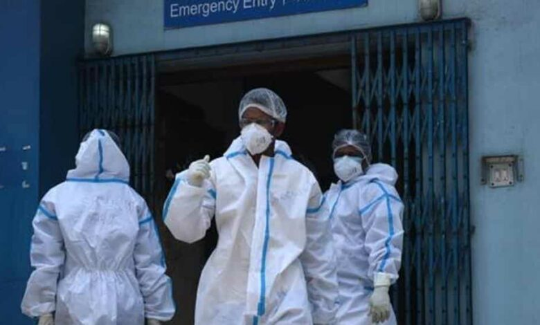 Medical professionals wearing PPE seen in MR Bangur Hospital – dedicated to Covid-19 treatment during lockdown, in Kolkata, West Bengal, India on Monday, May 11, 2020.