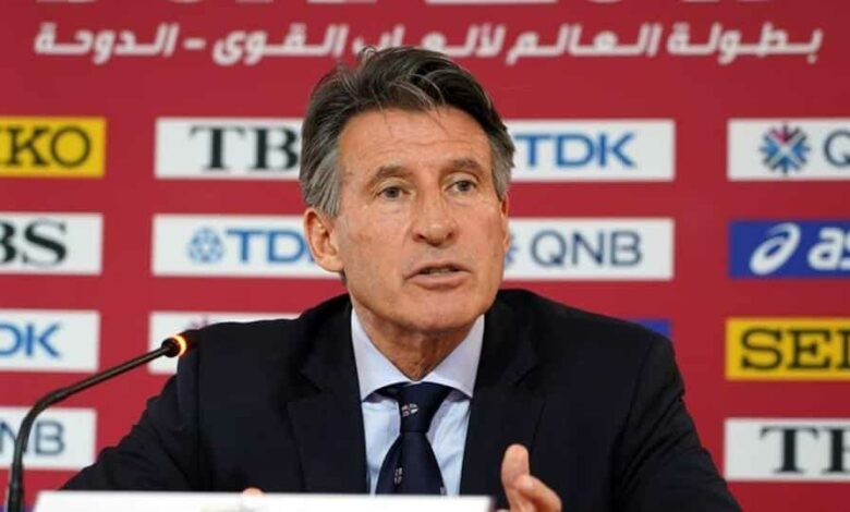 IAAF president Sebastian Coe speaks at a press conference.