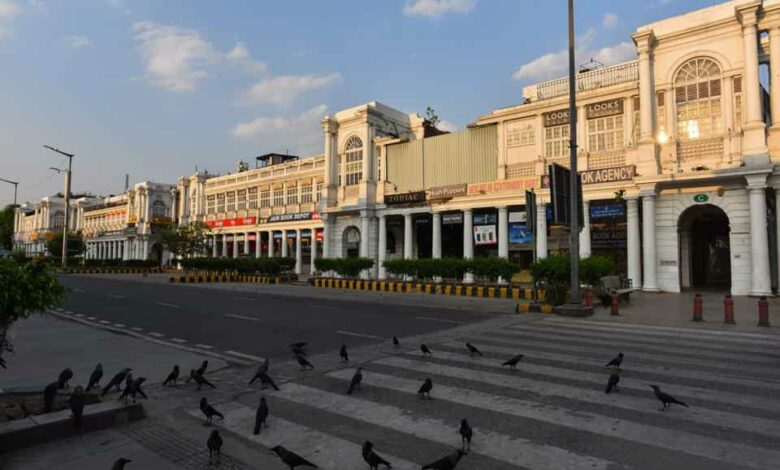 A deserted view of Connaught Place during the national lockdown, New Delhi, April 27, 2020
