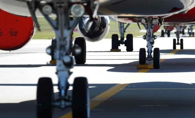 The wheels of Brussels Airlines aircrafts, a Lufthansa subsidiary, are seen as they sit parked on the tarmac at Zaventem International Airport near Brussels.