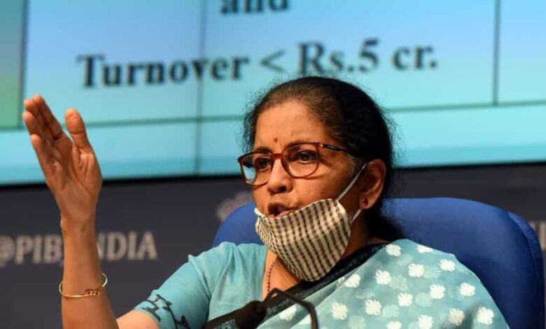Union Minister of Finance and Corporate Affairs Nirmala Sitharaman during a press conference detailing the centre's announcement of an economic stimulus package during lockdown, at the National Media Centre in New Delhi.