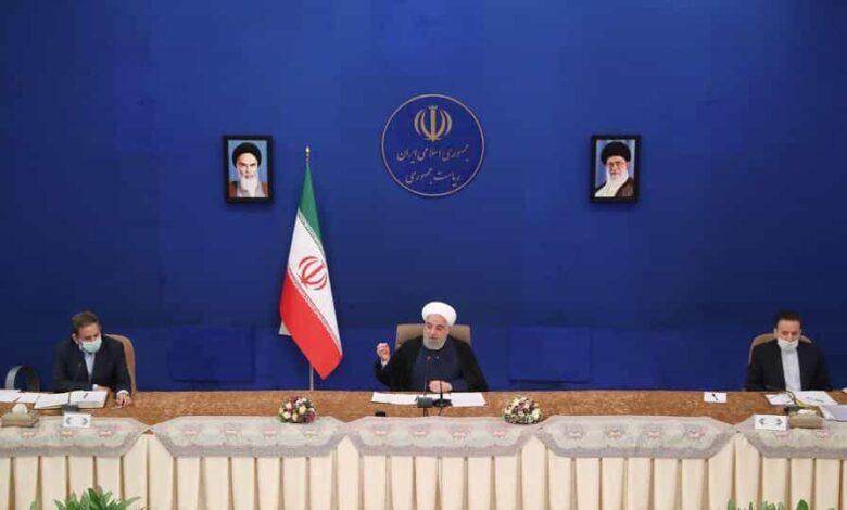 Iranian President Hassan Rouhani speaks during a cabinet meeting, as the spread of the coronavirus disease.