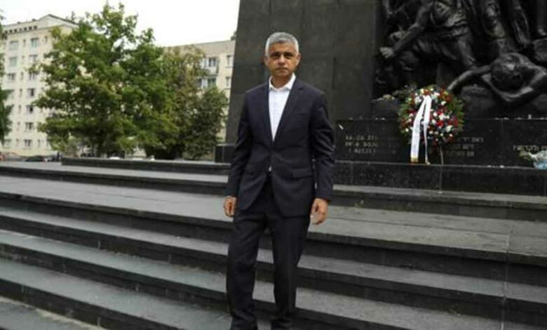London Mayor Sadiq Khan stands at the Monument to the Ghetto Heroes in Warsaw, Poland.