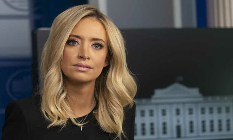 Kayleigh McEnany, White House press secretary, pauses during a briefing in Washington, D.C., U.S., on Friday, May 1, 2020.